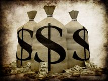 Grunge Geld Stockbild