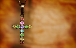 Grunge gemstones cross Stock Photos
