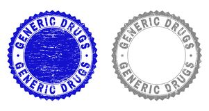 Grunge GENERIC DRUGS Scratched Stamps. Grunge GENERIC DRUGS stamp seals isolated on a white background. Rosette seals with grunge texture in blue and grey colors vector illustration