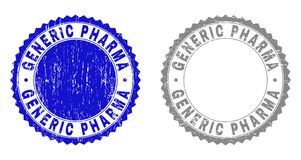 Grunge GENERIC PHARMA Scratched Stamps. Grunge GENERIC PHARMA stamp seals isolated on a white background. Rosette seals with grunge texture in blue and grey royalty free illustration