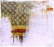 Grunge genomblöt amerikanska flaggan Arkivfoton