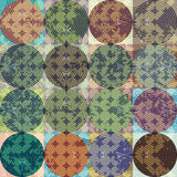 Grunge geometric pattern of squares and circles Stock Images