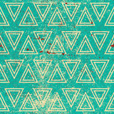 Grunge geometric seamless pattern, vintage vector repeat backgro Stock Photography