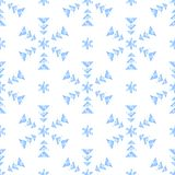 Grunge geometric shapes simple blue snowflakes on white seamless pattern, vector. Background royalty free illustration