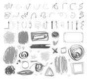Grunge geometrische tekens op geïsoleerde achtergrond Grote reeks op wit Hand getrokken eenvoudige verwarde symbolen Chaotische k royalty-vrije illustratie