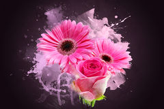 Grunge Gerbera daisies Stock Images