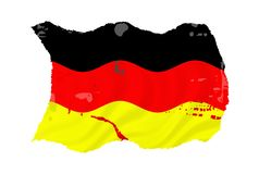Grunge German Flag. Waving over white background Royalty Free Stock Images