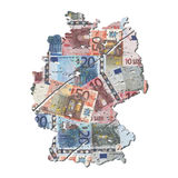 Grunge Germany map with euros Royalty Free Stock Photo
