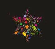 Grunge gestileerd kleurrijk David Star Stock Afbeeldingen