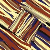 Grunge gestreept diagonaal geometrisch naadloos patroon in blauwe, zwarte, bruine, gele kleuren royalty-vrije illustratie