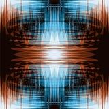 Grunge gestreept en golvend naadloos patroon in blauwe en bruine kleuren Stock Afbeelding