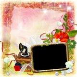Grunge geweven achtergrond met kader en bloemen stock afbeelding