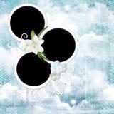 Grunge geweven achtergrond met ronde kader en bloemen royalty-vrije stock foto's