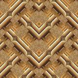 Grunge geweven overladen geometrisch 3d vector naadloos patroon Gre stock illustratie