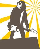 Grunge girl. An illustration of a girl playing electric guitar Stock Images