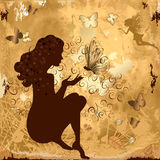 Grunge girl with butterflies Royalty Free Stock Images