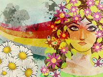Grunge girl with butterflies Royalty Free Stock Photos