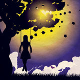 Grunge Girl On Swing Silhouette At Night Stock Image