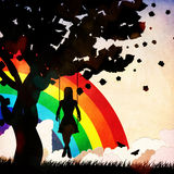 Grunge girl on swing and rainbow Stock Images
