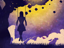 Grunge girl on swing silhouette at night Stock Photo