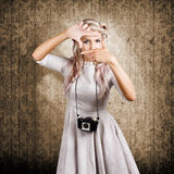 Grunge Girl With Retro Film Camera Concept Framing Stock Image