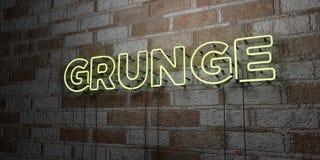 GRUNGE - Gloeiend Neonteken op metselwerkmuur - 3D teruggegeven royalty vrije voorraadillustratie Stock Fotografie