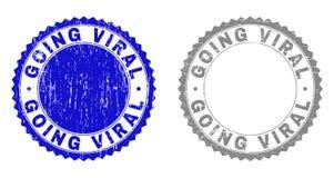 Grunge GOING VIRAL Scratched Stamp Seals royalty free illustration