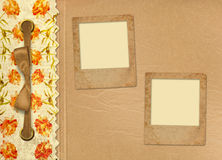 Grunge gold album for photos with bow. And painted roses Stock Image