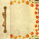 Grunge gold album for photos with bow. And painted roses Royalty Free Stock Photos