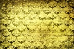 Grunge gold background with ancient floral Stock Photo