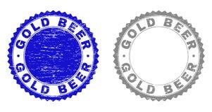 Grunge GOLD BEER Textured Stamp Seals vector illustration