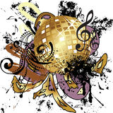 Grunge Gold Disco Ball Royalty Free Stock Photos