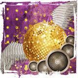 Grunge gold disco ball with wings Royalty Free Stock Image