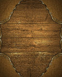 Grunge gold frame with wooden background. Element for design. Template for design. copy space for ad brochure or announcement invi Stock Image
