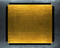 Grunge gold metal plate Stock Images