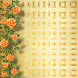 Grunge gold paper with painting rose Stock Photography