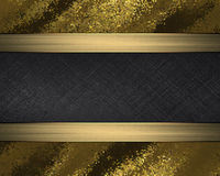 Grunge gold plate with black nameplate. Element for design. Template for design. copy space for ad brochure or announcement invita Stock Image