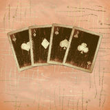 Grunge gold playing cards Royalty Free Stock Photos