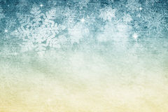 Grunge golden blue abstract Xmas snowflakes copy space Stock Images
