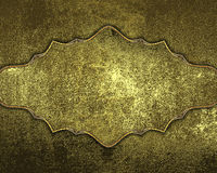 Grunge golden texture with gold plate. Element for design. Template for design. copy space for ad brochure or announcement invitat. Ion, abstract background Stock Image