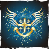 Grunge goldenes Schild mit Fleur-de-lis Stockbild