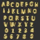 Grunge gouden letters en getallen vector Royalty-vrije Stock Fotografie