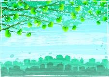 Grunge grüne ökologische Stadt unter Baumzweigen Lizenzfreie Stockbilder