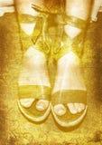 Grunge grüne Schuhe Stockbild