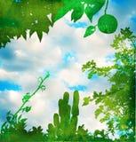 Grunge grüner Garten mit Himmel Stockfotografie