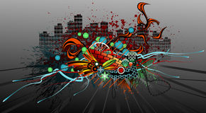 Grunge Graffiti. Design, vector,  horizontal Stock Image