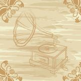 Grunge gramophone Stock Photography