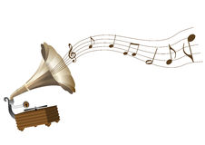 A grunge gramophone and a score Stock Photo