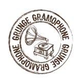 Grunge gramophone stamp Royalty Free Stock Photo