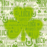 Grunge green background for Patricks day with shamrock, vector Stock Photos